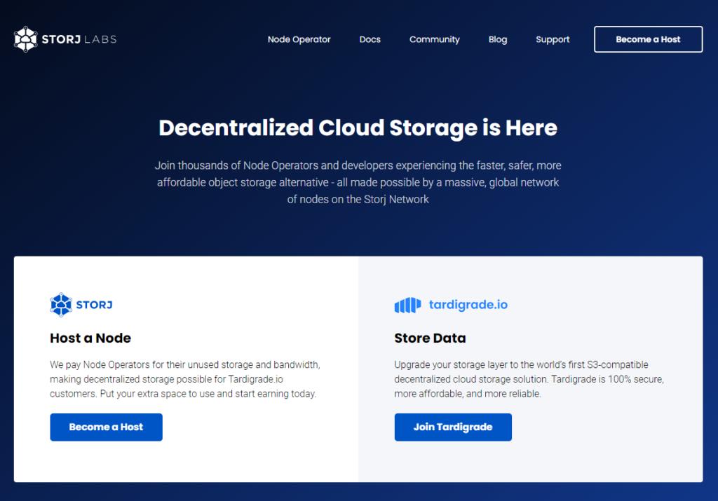 capture d'écran de la homepage de Storj.io