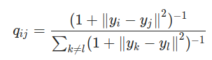 les similarités des points dans l'espace nouvellement créé mais en utilisant une distribution t-Student