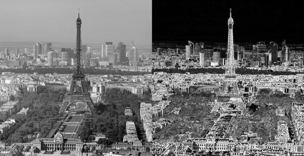 détection des contours sur une image de la tour Eiffel