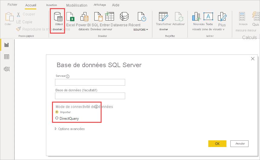 capture d'écran de DirectQuery dans Power BI